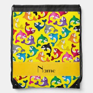 Personalized name yellow rainbow killer whales drawstring bag