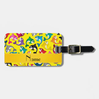 Personalized name yellow rainbow killer whales luggage tag