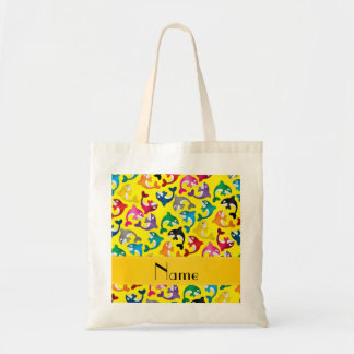 Personalized name yellow rainbow killer whales tote bag