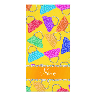 Personalized name yellow rainbow leopard purses photo card