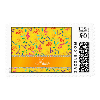 Personalized name yellow rainbow music notes postage
