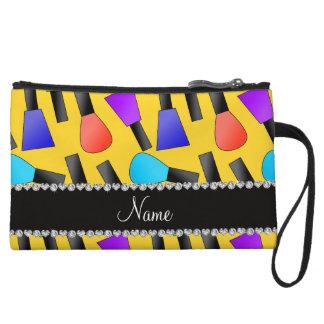 Personalized name yellow rainbow nail polish wristlet clutches