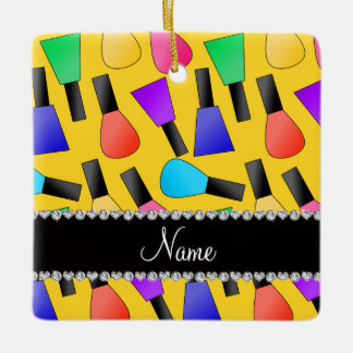 Personalized name yellow rainbow nail polish square ornament