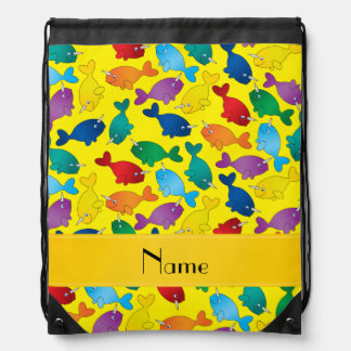 Personalized name yellow rainbow narwhals drawstring bag