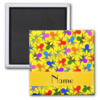 Personalized name yellow rainbow octopus 2 inch square magnet