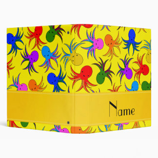 Personalized name yellow rainbow octopus 3 ring binder