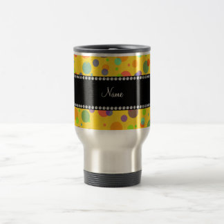 Personalized name yellow rainbow polka dots 15 oz stainless steel travel mug