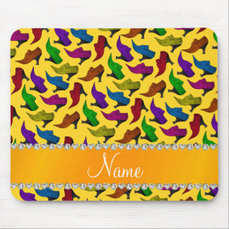 Personalized name yellow rainbow vintage shoes mouse pad