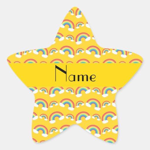 Personalized name yellow rainbows pattern star sticker