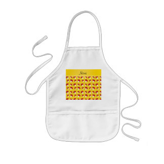Personalized name yellow red mushrooms kids' apron
