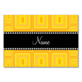 Personalized name yellow retro colorful squares table cards