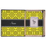 Personalized name yellow retro flowers covers for iPad