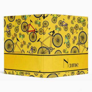 Personalized name yellow road bikes 3 ring binder