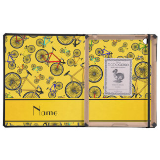 Personalized name yellow road bikes cases for iPad