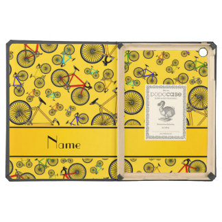 Personalized name yellow road bikes cover for iPad air