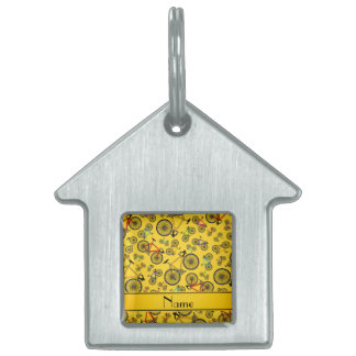 Personalized name yellow road bikes pet ID tags