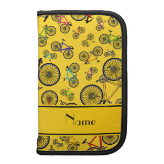 Personalized name yellow road bikes planner