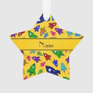 Personalized name yellow rocket ships