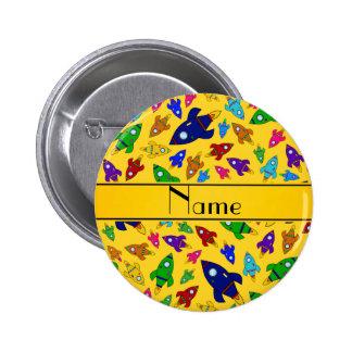 Personalized name yellow rocket ships pinback button