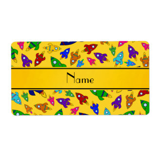 Personalized name yellow rocket ships shipping label
