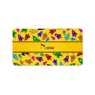 Personalized name yellow rocket ships labels