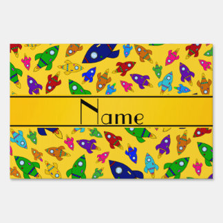 Personalized name yellow rocket ships lawn signs