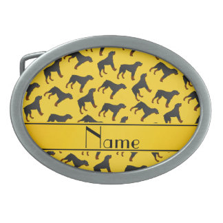 Personalized name yellow rottweiler dog pattern belt buckle