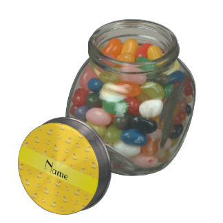 Personalized name yellow rubber duck pattern glass jars