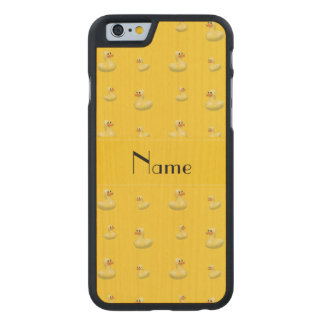 Personalized name yellow rubber duck pattern carved® maple iPhone 6 slim case