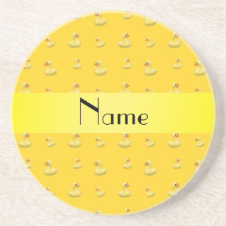 Personalized name yellow rubber duck pattern coaster