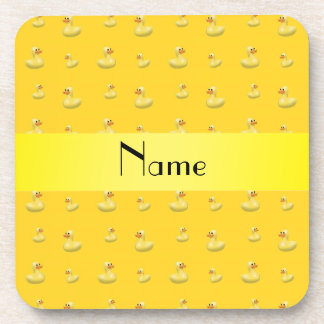 Personalized name yellow rubber duck pattern drink coaster