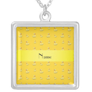 Personalized name yellow rubber duck pattern necklace