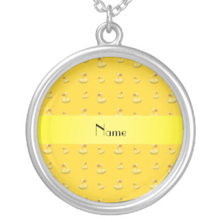 Personalized name yellow rubber duck pattern necklaces