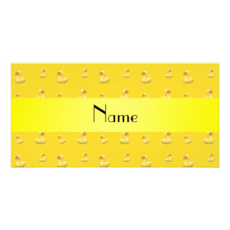Personalized name yellow rubber duck pattern photo card