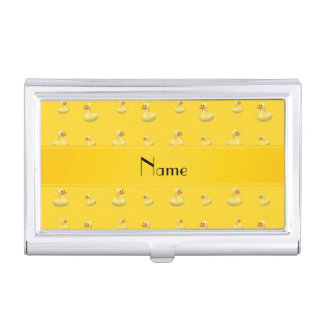 Personalized name yellow rubber duck pattern business card case