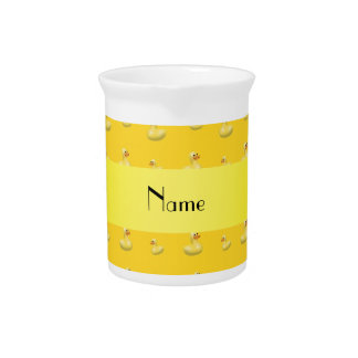 Personalized name yellow rubber duck pattern pitcher
