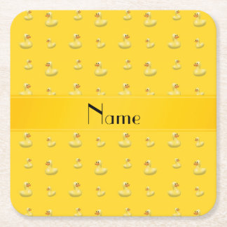 Personalized name yellow rubber duck pattern square paper coaster