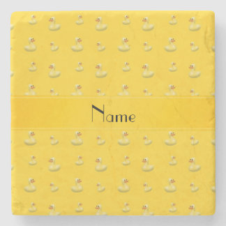 Personalized name yellow rubber duck pattern stone coaster