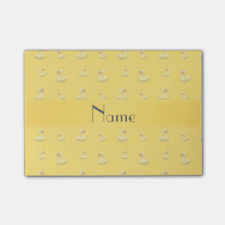 Personalized name yellow rubber duck pattern post-it® notes