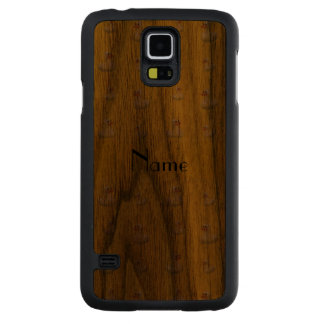 Personalized name yellow rubber duck pattern carved® walnut galaxy s5 slim case