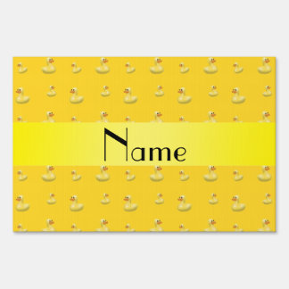 Personalized name yellow rubber duck pattern yard sign