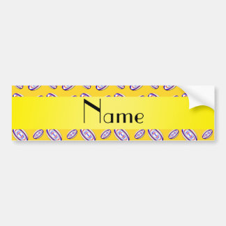 Personalized name yellow rugby balls car bumper sticker