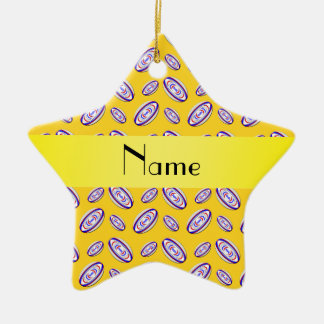 Personalized name yellow rugby balls ceramic ornament
