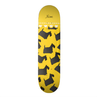 Personalized name yellow scottish terrier dogs skate deck