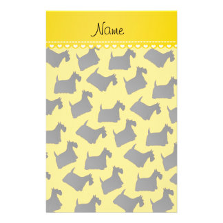 Personalized name yellow scottish terrier dogs stationery