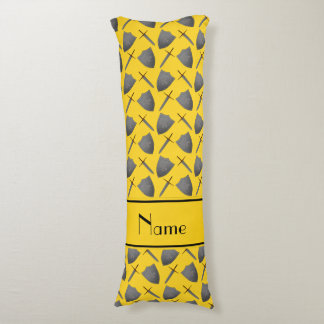 Personalized name yellow shields and swords body pillow