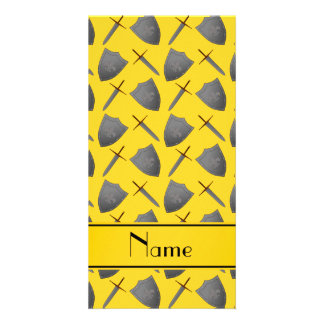 Personalized name yellow shields and swords personalized photo card
