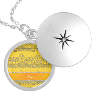 Personalized name yellow silver lace round locket necklace