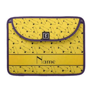 Personalized name yellow skateboard pattern sleeves for MacBook pro