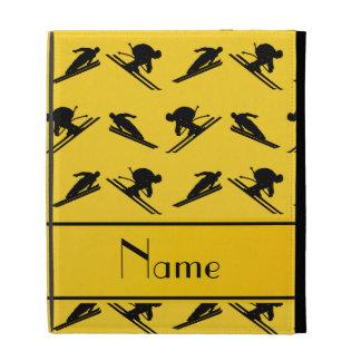 Personalized name yellow ski pattern iPad folio cover